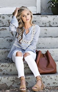 """~~~LOVE this outfit! Embellished blue tunic with ripped white denim. Ask your stylist for items just like these when you schedule your first """"fix"""". Stitch fix spring summer 2017."""