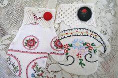 Using vintage linen scraps for mitten ornaments