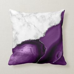 White Marble Purple Agate Silver Glitter Throw Pillow | Elegant white marble and purple agate trimmed with faux silver glitter combine in this luxurious throw pillow. Purple Throw Pillows, Outdoor Throw Pillows, Purple Agate, Shades Of Purple, Silver Glitter, White Marble, Custom Pillows, Fabric, Porch