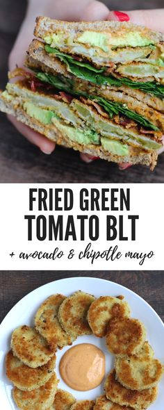 Fried Green Tomatoes might be my favorite thing! And these are piled onto a BLT complete with spinach, avocado, and homemade chipotle mayo. The perfect sandwich. (P.S. there's a gluten-free option!) | A Hint of Garlic #BLT #glutenfree #southern