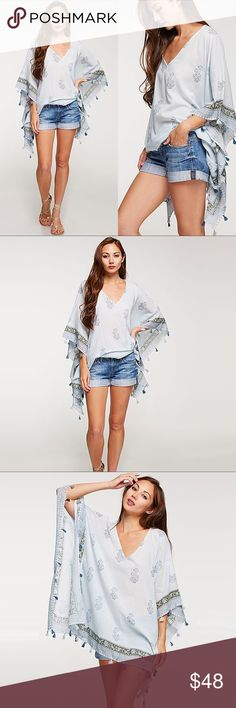"""Oversized Bohemian Tassel  Shirt, Poncho, Cover up ❤️ BUNDLES ❤️ DISCOUNTS ❌ NO TRADES ❌ NO Low balling!   • Batwing sleeve • Sewn on the sides  • OSFA • Very light weight  * MEASUREMENTS: • OSFA: - V neck Depth: 10.5"""" Approx - Length: 30"""" Approx Tops Camisoles"""