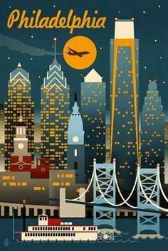 Philadelphia, Pennsylvania - Retro Skyline (Wall Decor Vintage Travel Poster) #affiliate