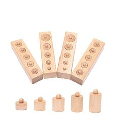 Pixnor Montessori Wooden Cylinder Socket Family Pack Early Learning Education Toy  Description   Cultivate children's ability to observe and hand-eye coordination, let baby practice mosaic of different shape of building blocks, to find accurate correlation, let children assistants also been linked.   Features   – Color: Wood color. – Material: Beech. – Size of each item: approx 15.2*4*3.8cm. – Suitable for 2 + ages. – Quantity: 4pcs / set. – Let the baby know what shape, size and sha..
