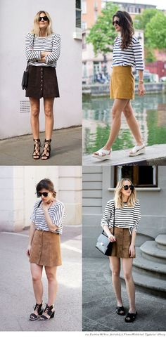 Best Easy-To-Wear Tip: Striped Top + Suede Skirt