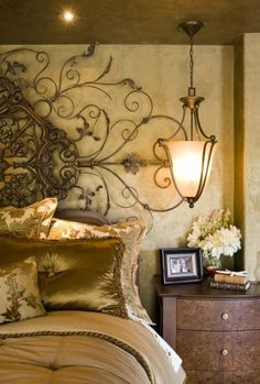 Cersei's modern bedroom Iron wrought and gold silk, a hanging electric sconce and distressed-look paint