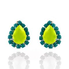 RockPaperMetal.com Neon Yellow with Turquoise Pave Crystal Teardrop Earrings. $20.00, via Etsy. You will be mine