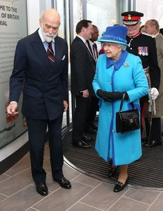 The Queen greets Prince Michael of Kent as she visits the National Memorial to the Few 26/3/2015