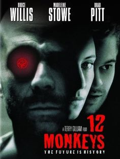 GREAT flick! 12 Monkeys is a 1995 American science fiction film. In a future world devastated by disease, a convict is sent back in time to gather information about the man-made virus that wiped out most of the human population on the planet.