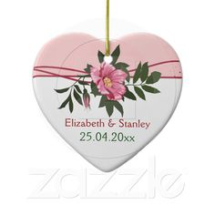 Wild pink rose floral wedding keepsake ornament from Zazzle.com