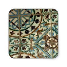 Moorish tile square stickers