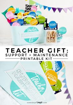 Teacher Gift | This darling + creative Teacher Support and Maintenance Kit is a great & clever way to thank those wonderful teachers! Get your colorful printables now!