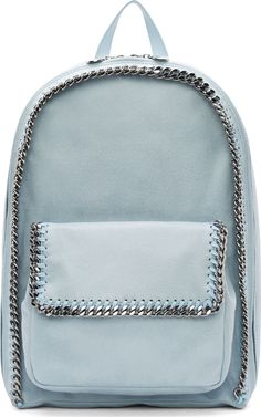 "Backpack in ice blue 'shaggy deer' faux-suede fabric. Gunmetal-tone ruthenium chunky chain trim at exterior. Exposed zip pocket at bag face. Tonal faux-leather shoulder straps. Two-way ziparound closure with logo disc zipper pull tabs. Patch pocket at interior with logo stamp. Tonal stitching.<br><br>Measures approx. 12"" length x 16"" height x 5"" width."