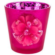 "Hot Pink 3"" Bright Mercury Glass Tea Light Holder"