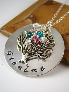 Grandma Gift Necklace Custom Family Tree by ShinyLittleBlessings, $52.00 ( ?!? Nana or mommy ?!?)