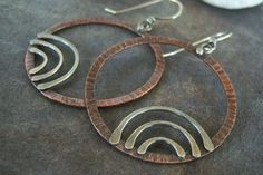Copper-Sterling-Rustic- Dangle Hoop-Earrings-Sale-Free Shipping.. $35.00, via Etsy.