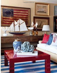 Red White and Blue Decor Fresh Ciao Newport Beach Red White & Blue by Barclay butera Beach Cottage Style, Beach House Decor, Beach Houses, Lake Cottage, Coastal Living Rooms, Home And Living, Coastal Bedrooms, Patriotic Room, Patriotic Crafts