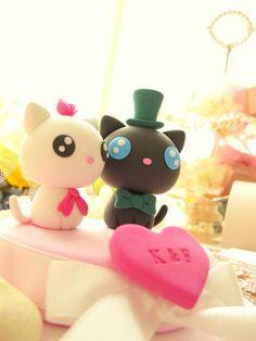 LOVE ANGELS Wedding Cake Topper-love cat,love kitty. $100.00, via Etsy.