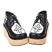 Trinity Cross Black and White PU Leather 7cm Platform Gothic & Punk Lolita Shoes