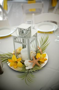 #yellow table setting # yellow beach reception