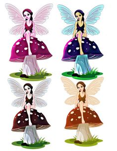 Fantasy Blue Fairy Image. Fairy Image, Fairy Cutout, 4 PACK, Mushroom Cutout…