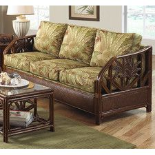 Hospitality Rattan Cancun Palm Upholstered Rattan & Wicker Sofa with Cushions - TC Antique - Sofas at Hayneedle White Wicker Furniture, Wicker Dresser, Wicker Couch, Wicker Headboard, Wicker Shelf, Wicker Bedroom, Wicker Tray, Wicker Table, Living Room Furniture