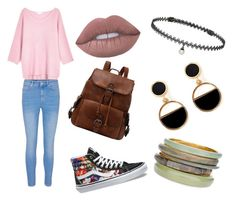 Perfect dress code-friendly outfit for school, featuring pale pink sweater with pale jeans, neutral pink lipstick, black-and-white striped backpack, floral converse sneakers, choker, black-and-white geometrical earrings, and neutral bangles