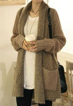 Large Size Splicing Vintage Open Front Long Slim Cardigan Sweater