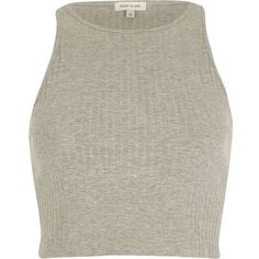 River Island Grey ribbed racer crop top ($6) ❤ liked on Polyvore featuring tops, crop tops, shirts, tank tops, grey, sale, crop top, tall tops, summer crop tops and gray crop top