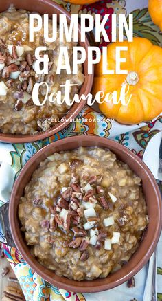 Pumpkin & Apple Oatmeal with pecans, brown sugar and pumpkin pie spice - the perfect fall breakfast for those cold and cozy mornings. via @yellowblissroad