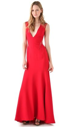 i am obsessed with this Reem Acra Deep V Gown with Lace Trim.  i MUST find it in my size.