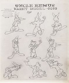 Extremely rare original model sheet from Song Of The South.