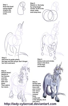How to Draw a Unicorn Tutorial 2 by *lady-cybercat on deviantART