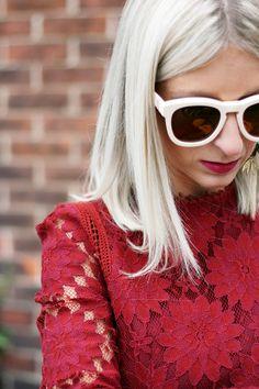 Maska Mode Burgundy Lace Midi Dress