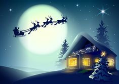 Santa Claus and reindeer flying Graphics Silhouette Santa Claus and reindeer flying over Christmas house in winter forest. Vector illustratio by orensila