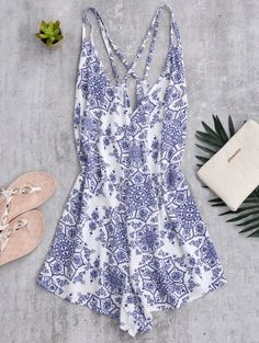 SHARE & Get it FREE | Back Crossed Printed Romper - Blue And WhiteFor Fashion Lovers only:80,000+ Items • New Arrivals Daily Join Zaful: Get YOUR $50 NOW!