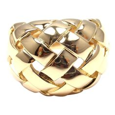 Van Cleef & Arpels VCA Basket Weave Yellow Gold Band Ring | From a unique collection of vintage band rings at http://www.1stdibs.com/jewelry/rings/band-rings/