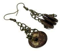 Coco Wood Disc Drop Earrings on Antique Brass Chain #m209 by CycleofLifeDesign on Etsy