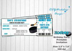 Hockey invitation Hockey ticket invitation by ElfsWorkshopDesign Ticket Invitation, Printable Invitations, Party Printables, Invites, Hockey Birthday, Hockey Party, 8th Birthday, Birthday Parties