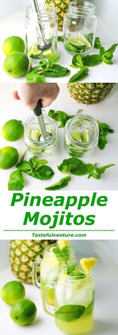 Pineapple Mojitos - perfect, refreshing drink on a hot, summer day...or just when you're dreaming of a beach on a tropical island.