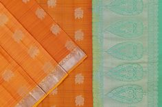 Orange soft silk with a pastel green paloo and blouse. Soft Silk Sarees, Green Blouse, Silk Thread, Pastel, Pure Products, Orange, Fabric, Color, Tejido