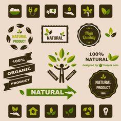 エコロジーフラットレトログラフィック要素 無料ベクター
