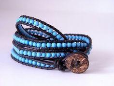 Pulseira de couro com miçangas azuis estilo hippie ou boêmio | Como Criar…