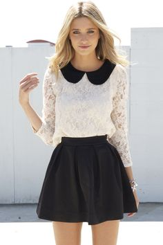 "I'm crazy about this top! Other pinner wrote: ""Vintage-inspired cream lace crop top featuring a black peter pan collar and sheer sleeves. Cutout at back with button closure. Looks chic paired with high-waist skinnies and platforms! By Sabo Skirt. $42"""