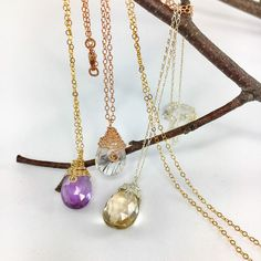 Minimalist Teardrop Gemstone Pendant necklace, available in 3 metal finishes and variety of gemstones