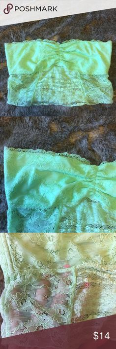Free People Mint Green Lace Bandeau Crop Top M Free People Mint Green Lace Bandeau. Longer length can be worn as a Crop Top. Mint green lace is opaque on top part and sheer on bottom part. Gently used. Size M Free People Intimates & Sleepwear Bandeaus