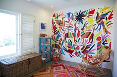 I dont blame who ever painted this on their wall - otomi patterns and colours are just so cool. Get the real deal at www.montesandclark.co.uk