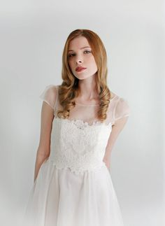2 Piece Lace and Silk Wedding Dress SUPER SALE  by Leanimal