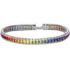 Rainbow Sapphire & Diamond Tennis Bracelet 14K White Gold $4,802 #bracelet #jewelry #diamonds
