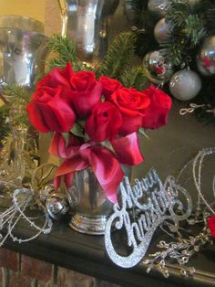Silver and red roses