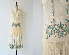 Spring Prelude dress | antique 1920s dress | floral net lace 20s dress by DEARGOLDEN on Etsy https://www.etsy.com/listing/606965610/spring-prelude-dress-antique-1920s-dress